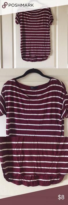 GAP striped tee GAP maroon and white striped tee. Short sleeve. Never worn. GAP Tops Tees - Short Sleeve