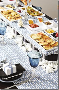 Latke Buffet Bar.  Love this idea for a Hanukkah party - Different kinds of latkes and different toppings.  We love potato latkes with smoked salmon & sour cream and Apple latkes with cinnamon sour cream! Don't forget to make it look beautiful and fun Chanukah Tableware! http://www.settocelebrate.com/hanukkah.html #settocelebrate #hanukkahrecipes