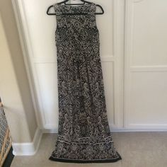 Ralph Lauren Black And White Maxi Dress, Size 8
