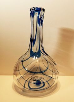 "Rare Carl Erickson Art Glass Cobalt Triple Swag Vase: 8"" tall, 5"" at its widest point.    Examples can be found in the Knower Erickson Freehand Glass Catalog on the bottom of page 23.  See the Erickson Art Glass facebook. Asking: $379 or B.I.N. $579. Lancaster, Ohio"