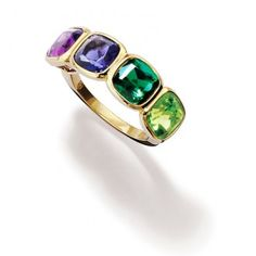 Tekla Ring set with cushion facetted Peridot, Green Tourmaline, Iolite, Amethyst and Diamonds.by Cassandra Goad