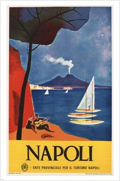 Amazon.com: vintage NAPLES travel POSTER Mario Puppo Italy 1960 Beautiful Seaside 24X36: Posters & Prints