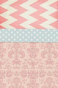 C.U.T.E pink & blue print, polka-dot, & chevron wallpaper