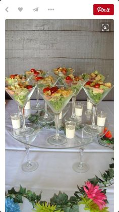 Appetizer Salad How fun is this! Great for an Origami Owl jewelry bar party… Party Salads, Appetizer Salads, Appetizers For Party, Appetizer Recipes, Salad Bar Party, Fruit Salads, Girls Night Appetizers, Shot Glass Appetizers, Food Salad