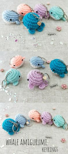 Whale amigurumi keychain with handmade charm, valentines gift, Diy Crochet, Crochet Toys, Crochet Ideas, Crochet Keychain Pattern, Knitting Patterns, Crochet Patterns, Crochet Octopus, Crochet Animals, Crochet Stitches