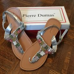 Silver Beaded Pierre Dumas Sandals Super cute silver beaded sandals Will match most anything New with tags in box Pierre Dumas Shoes Sandals