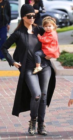Kourtney Kardashian wearing Chloe Suzanna Booties Black Orchid Black Jewel Jeggings in Black Rock Bottega Veneta Intrecciato Knit Beanie Saint Laurent Square Sunglasses