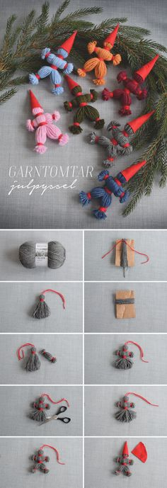 How to make yarn gardens classic Christmas decor Helena Lyth Yarn Crafts, Diy And Crafts, Christmas Crafts, Christmas Ornaments, Christmas Feeling, Christmas Love, Diy For Kids, Crafts For Kids, Classic Christmas Decorations