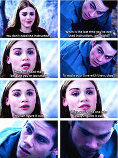 When Lydia almost gets stuck in a trap and stiles has to help her out of it without the instructions.