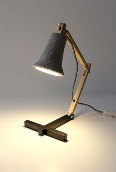 Wooden desk lamp Metamorfozis II No 8 paper mache by CreaReDesign