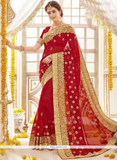 New Bollywood Designer Saree, Sari, Traditional Stylish Ethnic Beautiful Party Wedding Saree. The fabric of this Saree is Comfortable for your body. This dress is made from best material. Red Saree Wedding, Sari Wedding Dresses, Bridal Sari, Indian Wedding Bride, Party Wear Dresses, Party Wear Sarees, Designer Sarees Wedding, Bollywood Designer Sarees, Indian Dresses