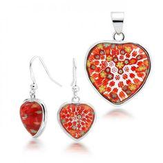 Sterling Silver Red Murano Glass Heart Millefiori Flower Jewelry Set Earrings Pendant