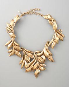 Oscar De La Renta Gold Gold Leaf Collar Necklace