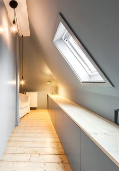 Dressing room decor, ideas, inspiration and pictures homify - Reconstruction / refurbishment of the attic: dressing room from Behr Raumkonzepte - Attic Bedroom Storage, Loft Storage, Eaves Storage, Attic Renovation, Attic Remodel, Attic Apartment, Attic Rooms, Dressing Room Decor, Stairway Decorating
