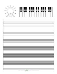 Free Music Staff Paper with Keyboard and Circle of 5ths | Music Matters Blog. I like the idea, but it might be best to tweak the sheet: bigger circle of fifths image, etc.