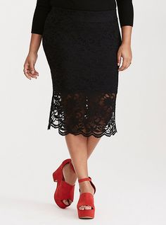 Stretch Lace Pencil Skirt, DEEP BLACK
