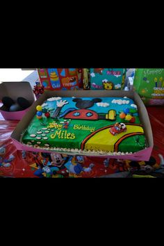 pic sent 2 me/ Mickey Mouse clubhouse birthday cake (By Gina's Piece of cake Santa Maria, CA) Mickey Mouse Bday, Mickey Mouse Clubhouse Birthday Party, Mickey Mouse Parties, Mickey Birthday, Mickey Party, Disney Parties, Pirate Party, Second Birthday Ideas, 3rd Birthday Parties