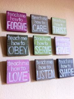 A great craft project for a childs room. Paint inexpensive canvas with different colors, then use a white marker to write sayings, you can use stickers, also if you use chalkboard paint you can write with chalk and then change as needed.