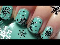 Retro Snowflake Nails - Nail Art Tutorial on Short Nails - YouTube
