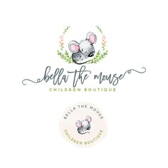 Premade Logo Design, Children boutique Logo, Mouse Logo, Baby and Kids logo 2p15