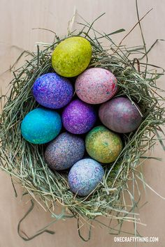 Speckled Rice Dyed Easter Eggs (with Tutorial!) | OneCraftyThing.com