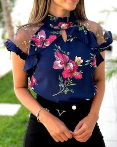 Floral Cut Out Detail Mesh Blouse fashion trends 2019 Teens,fall fashion trends ,fall fashion trends Curvy,fall fashion Girly Outfits, Mode Outfits, Tomboy Outfits, Trend Fashion, Womens Fashion, Fashion Tips, Fall Fashion, Mode Abaya, T Shirts For Women