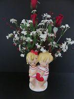 Vtg. Lefton Valentine Planter Vase Floral Arrangement  Boy Girl Heart Japan