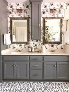 In this post I'm sharing all the updates and sources for our mater bath fixer upper. Updated bathroom stenciled floors wallpaper Update bathroom cabinets how to stencil a vinyl floor Bathroom before and after updating an outdated bathroom Bathroom Stencil, Vinyl Flooring Bathroom, Painting Bathroom Cabinets, Bathroom Paint Colors, Master Bathroom Wallpaper Ideas, Stenciled Floor, Small Bathroom, Bathroom Ideas, Bathroom Organization