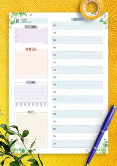 Dated Daily Planner - Floral Style Daily Routine Planner, Daily Planner Pages, Weekly Planner, Happy Planner, Planner Ideas, Daily Planner Printable, Planner Template, Onenote Template, Planner Inserts