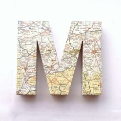 Mary! Vintage Map Door Sign Mounted Letters Custom Decoration Traveller Initials Wall