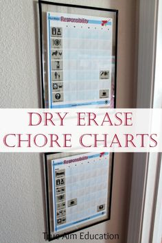 Dry erase chore charts for young children. Love these simple chore charts with pictures to help non-readers and space for them to mark the chore off morning and evening.