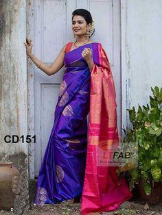 Adorable Blue-Pink Colored Soft Silk Saree - CD151