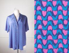 Vintage Silk Blouse / Tulip Print 80s Button Down Shirt / Graphic Print 80s Shirt / 80s Silk Blouse / 80s Oversized Shirt / Cute Retro Top by BlueHorizonVintage on Etsy