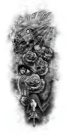 Tattoo drawing roses skull