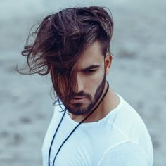 long brown messy hair, white shirt, short guy haircuts, black necklace, black be… - My Fashion World 2019 Side Fringe Hairstyles, Fringe Haircut, Quiff Hairstyles, Cool Hairstyles, Hairstyle Ideas, Style Hairstyle, Hair Ideas, Cool Haircuts, Haircuts For Men