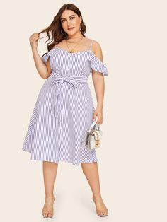 To find out about the Plus Cold Shoulder Stripe Ruffle Trim Belted Dress at SHEIN, part of our latest Plus Size Dresses ready to shop online today! Belted Dress, Dot Dress, Striped Dress, Wedding Dresses Plus Size, Plus Size Dresses, Plus Size Outfits, Plus Size Womens Clothing, Plus Size Fashion, Side Split Dress