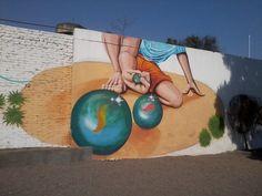 Nice way to see the World by Argentina's Gabriel Bazan (http://globalstreetart.com/gabriel-bazan).