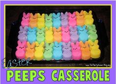 10 Recipes for an Easter potluck: Easter Peeps casserole from The Party Animal Easter Peeps, Hoppy Easter, Easter Treats, Easter Bunny, Easter Food, Easter Stuff, Holiday Treats, Holiday Fun, Holiday Recipes