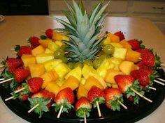 Luau fruit trays ideas: fruit skewers for a party cut top off of pineapple to, diy party luau party fruit tray display pineapple tree, hawaiian luau party watermelon whale, carved watermelon Baby shower food display= Fruit skewers for a party Cut top off Fruit Recipes, Appetizer Recipes, Cooking Recipes, Picnic Recipes, Guava Recipes, Tostada Recipes, Baby Recipes, Cooking Tips, Healthy Snacks