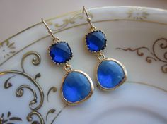 Cobalt Blue Earrings Gold  Gold Plated  Bridesmaid by laalee, $32.00