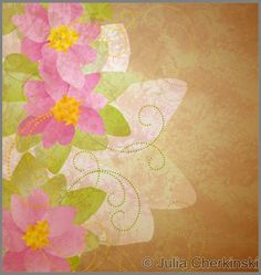spring butterfly and pink flower on grunge green background idea illustration     http://www.tpt-fonts4teachers.blogspot.com/2013/01/san-valentines-day-free-clip-arts.html