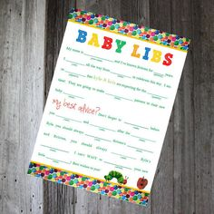Baby Shower Mad Libs  Eric Carle Hungry by PencilMouthDesigns, $5.00