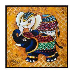 The Elephant Duo Poster by Sonali Mohanty - Art drawings - Kerala Mural Painting, Indian Art Paintings, Kalamkari Painting, Madhubani Painting, Art Sketches, Art Drawings, Ganesha Painting, Madhubani Art, Indian Folk Art