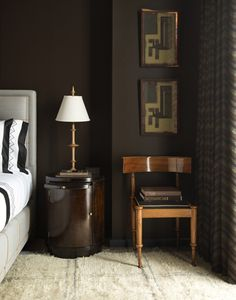 Surroundings Color of the Month November steven gambrel masculine modern bedroom--dark brown walls, upholstered bed, abstract art Dark Brown Bedrooms, Dark Brown Walls, Brown Bedroom Walls, Brown Master Bedroom, Modern Bedroom, Bedroom Decor, Bedroom Lamps, Wall Lamps, Design Bedroom