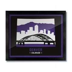 DENVER COLORADO SKYLINE & BRIDGE PRINT - Colorado Rockies Purple/Black Baseball Our original handcrafted prints take cues from vintage artwork with an updated modern spin, inspired by oil signs from t