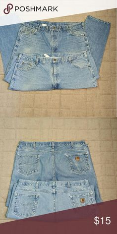 Lot of 2 Pair Carhartt Blue Jeans 2 Pair of 44x30, 5 pocket & straight leg jeans, medium blue.  One pair has a small hole on one of the rear pocket seams.  These are the perfect weekend 'kick around' jeans. The asking price reflects the wear on these jeans. Carhartt Jeans Straight