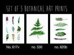 Set of 3 leaf art prints, Minimalist botanical leaves, Green Leafs, Modern watercolor giclee wall art, Minimalist plants, Buy 2 get 1 free. Kitchen