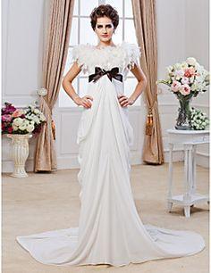 Sheath/ Column Jewel Chapel Train Chiffon Wedding Dress. Grab unbeatable discounts up to 70% Off at Light in the box using Coupons.