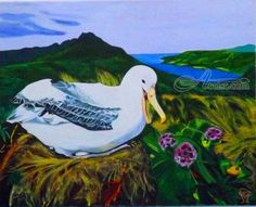 Albatross mother with her nest of eggs... ; Art Form: Paintings ; Style: Realism ; Media: Acrylic ; Genre: Animals,Land Art,Landscape,Nature,Wildlife OLIVER MACHADO Dubai, Dubai - United Arab Emirates
