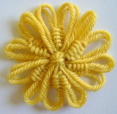 Loomed flower with woven spokes from my website